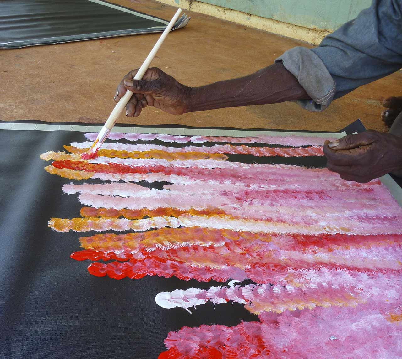 A man painting about Aboriginal Art